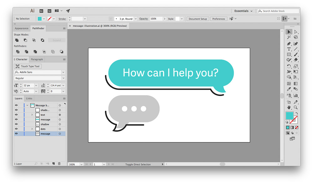 Illustration of two message bubbbles inside Adobe Illustrator CC